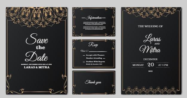 Conjunto de cartão de convite de casamento floral monoline luxuoso
