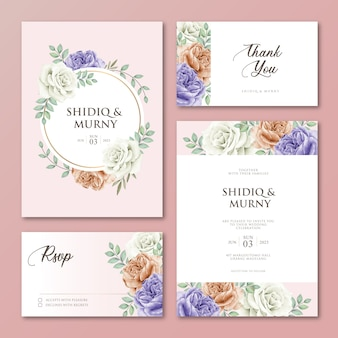 Conjunto de cartão de convite de casamento floral obrigado design de cartão de rsvp
