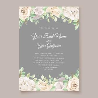 Conjunto de cartão de convite de casamento floral verde suave