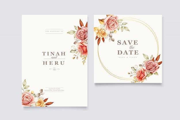 Conjunto de cartão de convite de casamento floral