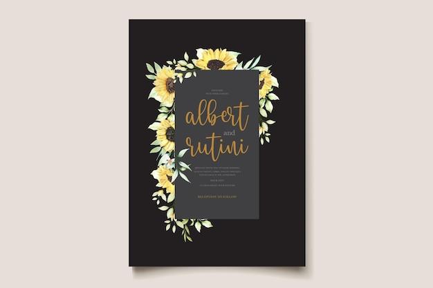 Conjunto de cartão de convite de casamento girassóis em aquarela