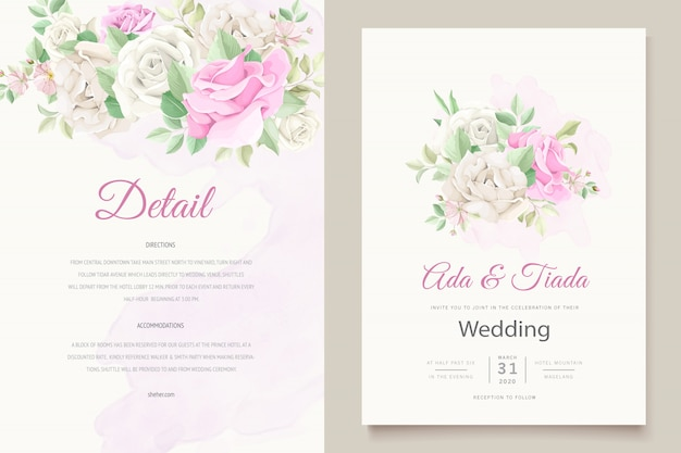Conjunto de cartão de convite de casamento lindo e macio floral
