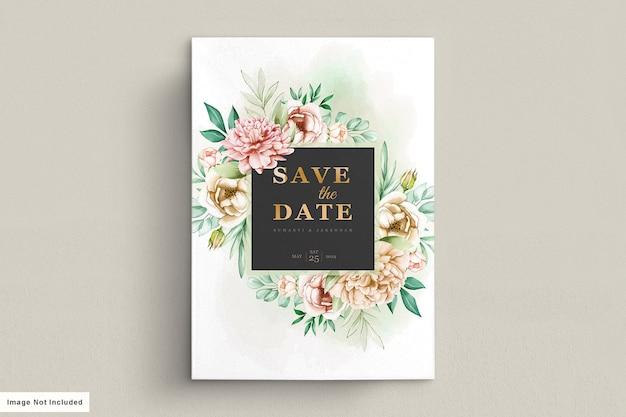 Conjunto de cartão de convite de casamento peônias