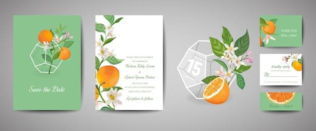 Conjunto de cartão de convite de casamento retrô botânico, vintage save the date, design de modelo de frutas e folhas de laranja, ilustração de flor cítrica. capa moderna de vetor, pôster gráfico em tons pastel, brochura