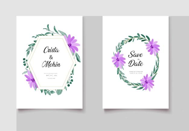 Conjunto de cartão de convite de casamento romântico em aquarela