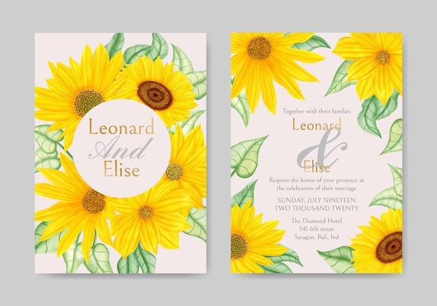 Conjunto de cartão de convite de casamento vintage aquarela girassol