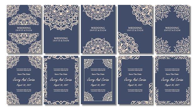 Conjunto de cartão de convite de casamento vintage com desenho de mandala floral, convite de casamento de mandala