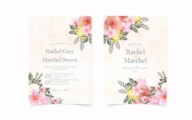 Conjunto de cartão de convite de casamento vintage com floral abstrato e fundo