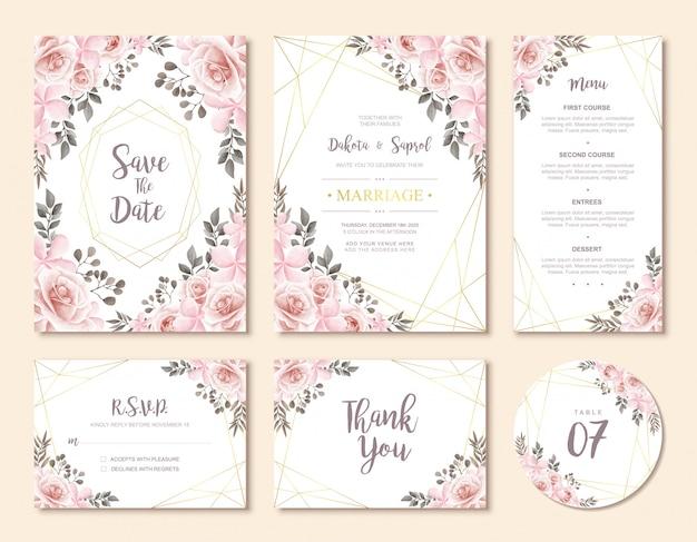 Conjunto de cartão de convite de casamento vintage