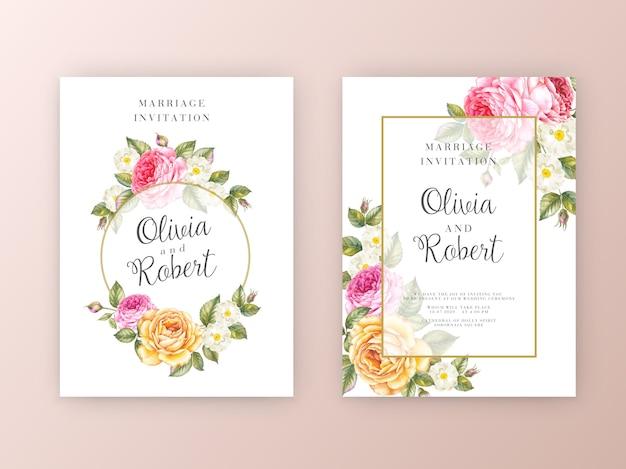 Conjunto de cartão de convite de casamento