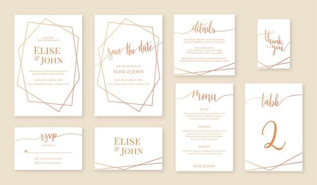 Conjunto de cartão de convite de casamento.