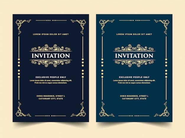 Conjunto de cartão de convite de estilo retro de ouro antigo real luxuoso branco azul e preto para entrada vip festa de aniversário passe aniversário de casamento e celebração dourado pronto para imprimir