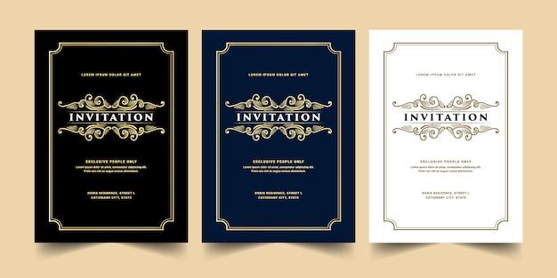 Conjunto de cartão de convite de estilo retro dourado branco azul e preto luxo antigo real dourado