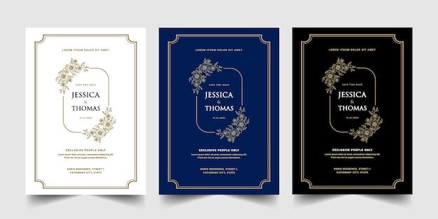 Conjunto de cartão de convite de estilo retro em ouro antigo real luxuoso branco azul e preto