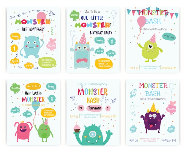 Conjunto de cartão de convite de festa de aniversário feliz monstro bonito