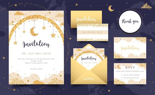 Conjunto de cartão de convite de festa estrelada. envelope, carta, cartões. ouro.