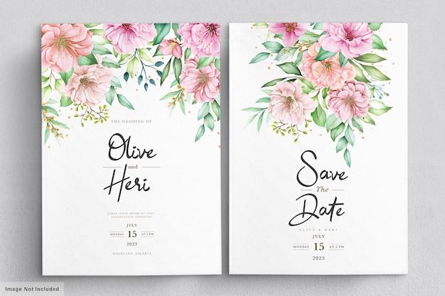 Conjunto de cartão de convite de flor de cerejeira em aquarela
