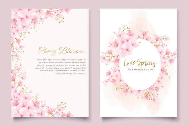Conjunto de cartão de convite de flor de cerejeira em aquarela Vetor Premium