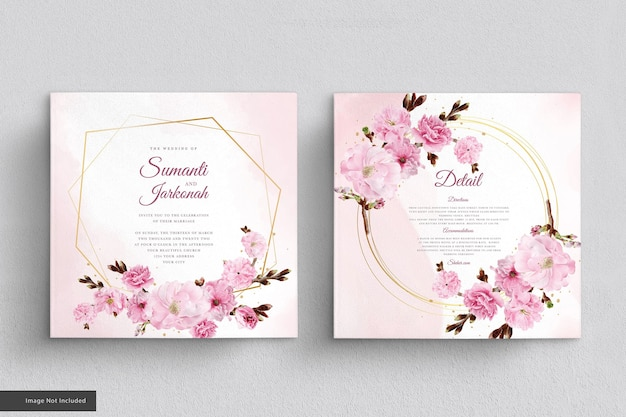 Conjunto de cartão de convite de flor de cerejeira