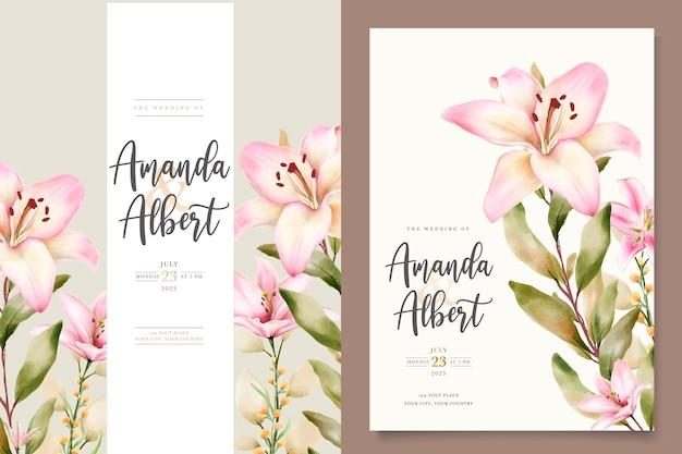 Conjunto de cartão de convite de flor de lírio em aquarela