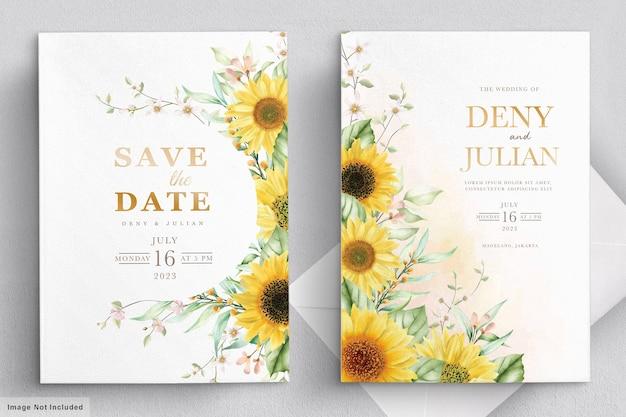 Conjunto de cartão de convite de flor de sol em aquarela