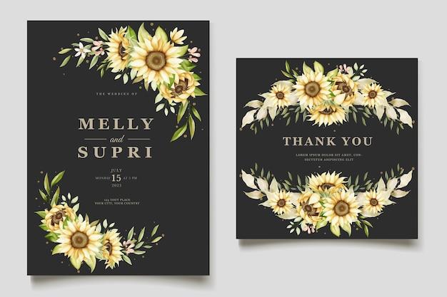Conjunto de cartão de convite de girassol em aquarela elegante