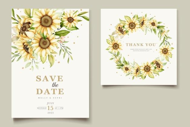Conjunto de cartão de convite de girassol em aquarela