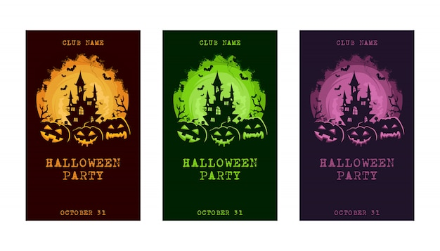 Conjunto de cartão de convite de halloween
