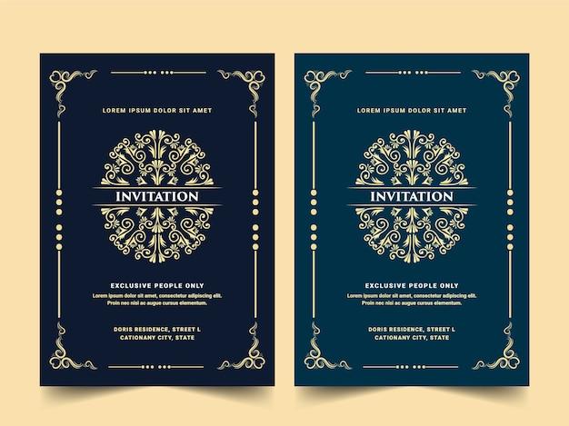 Conjunto de cartão de convite de luxo real antigo dourado estilo retro