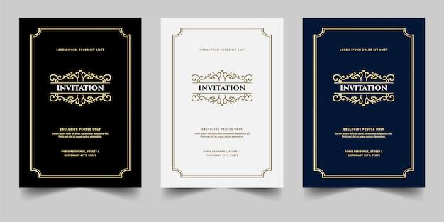 Conjunto de cartão de convite de luxo real antigo estilo retro