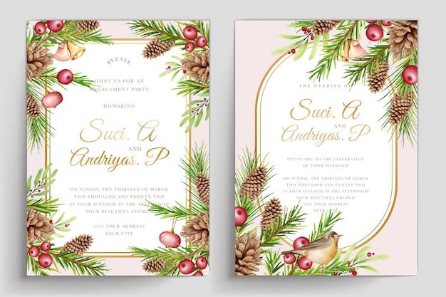 Conjunto de cartão de convite de natal em aquarela desenhado à mão