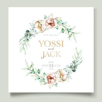 Conjunto de cartão de convite de peônia aquarela e eucalipto