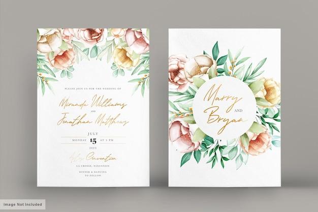 Conjunto de cartão de convite de peônias aquarela românticas