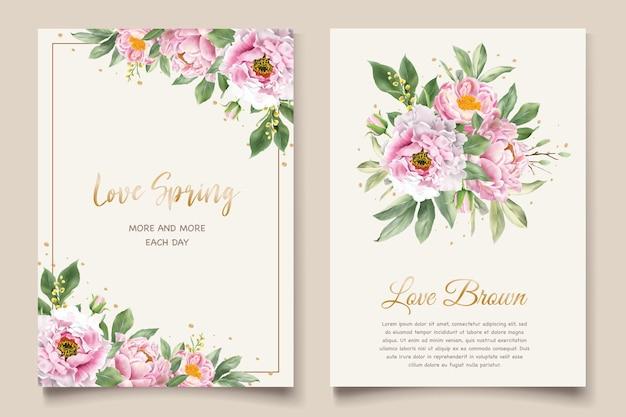 Conjunto de cartão de convite de peônias aquarela