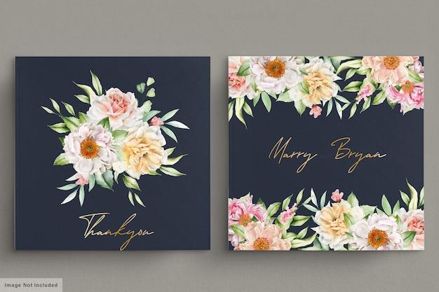 Conjunto de cartão de convite de peônias e rosas em aquarela