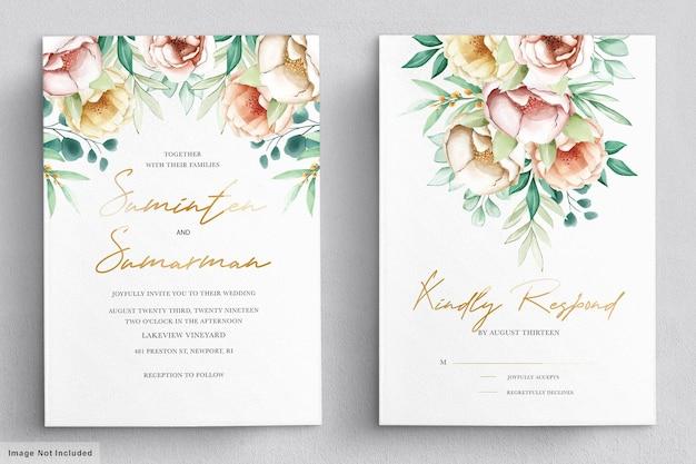 Conjunto de cartão de convite de peônias em aquarela românticas
