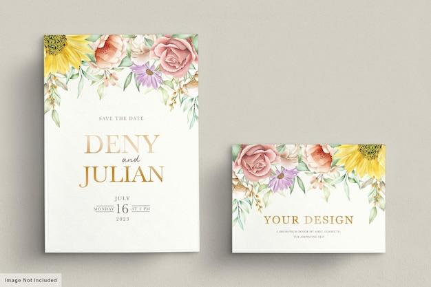 Conjunto de cartão de convite de primavera floral florescendo