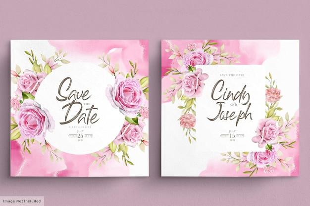 Conjunto de cartão de convite de rosas cor de rosa em aquarela
