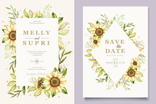 Conjunto de cartão de convite de verão aquarela girassol
