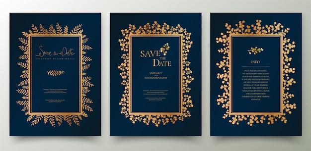 Conjunto de cartão de convite dourado.