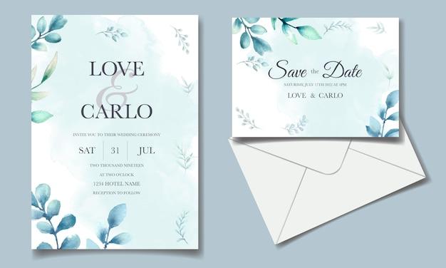Conjunto de cartão de convite elegante folhas aquarela