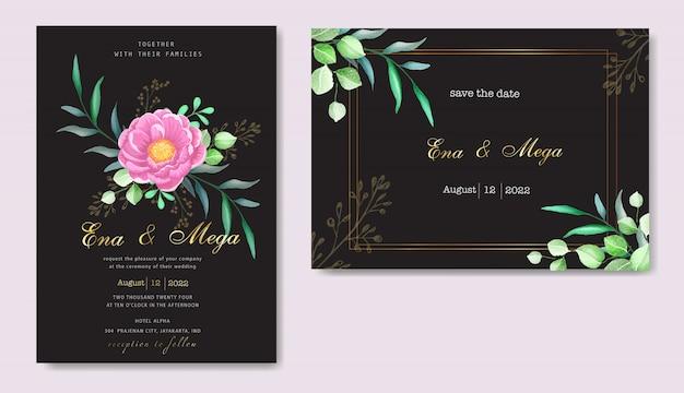 Conjunto de cartão de convite elegante peônias