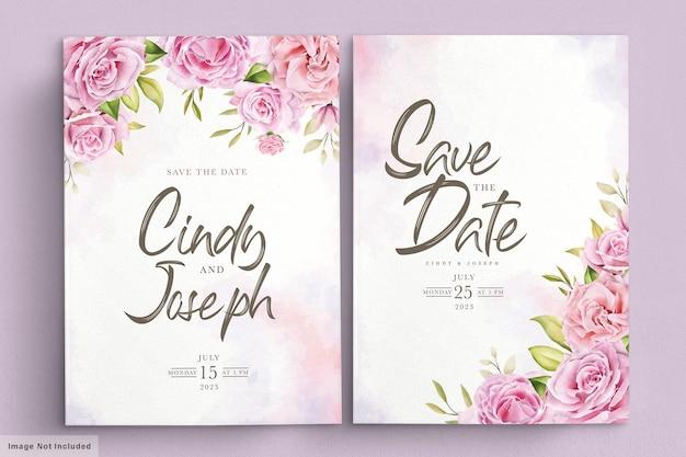 Conjunto de cartão de convite elegante rosa suave e aquarela
