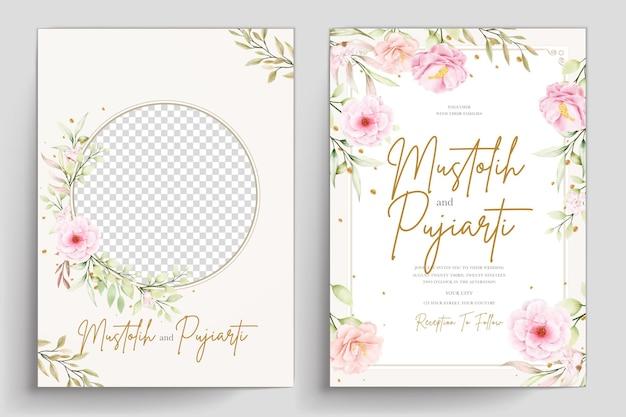 Conjunto de cartão de convite floral aquarela desenhado à mão