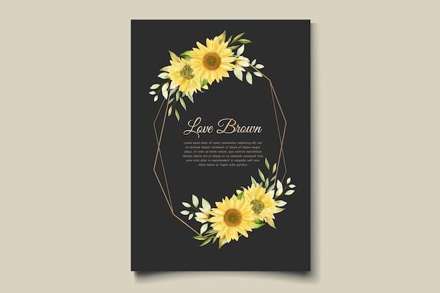 Conjunto de cartão de convite floral de girassol