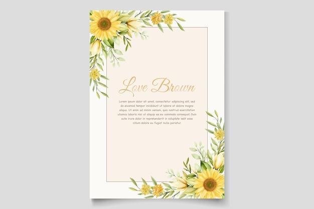 Conjunto de cartão de convite floral de girassol Vetor grátis
