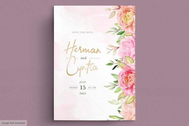 Conjunto de cartão de convite floral de primavera em aquarela