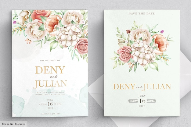 Conjunto de cartão de convite floral florescendo