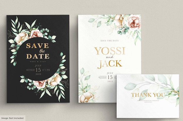 Conjunto de cartão de convite floral