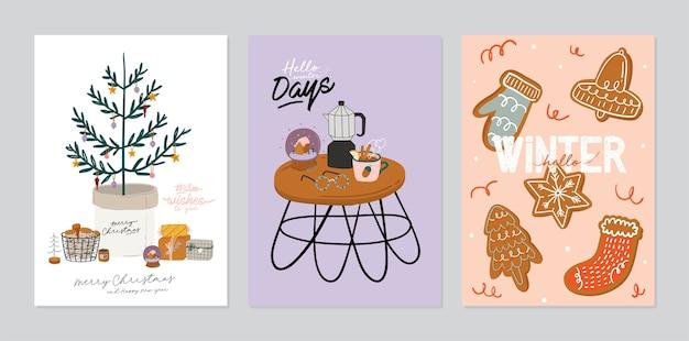 Conjunto de cartão de convite - interior escandinavo com decoração para casa. temporada de férias de inverno aconchegante. ilustração fofa e tipografia de natal no estilo hygge